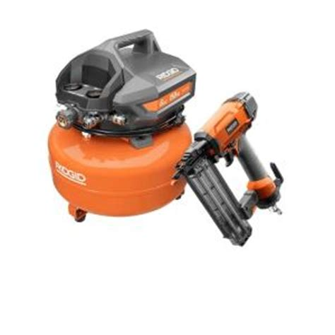 ridgid 6 gal portable electric pancake compressor and 18