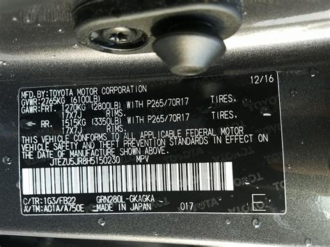 toyota corolla vin number toyota vin decoder