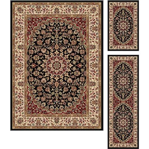 3pc Rug Set by Tayse Rugs Elegance Black 5 Ft X 7 Ft 3 Rug Set 5393 Black 3 Pc Set The Home Depot