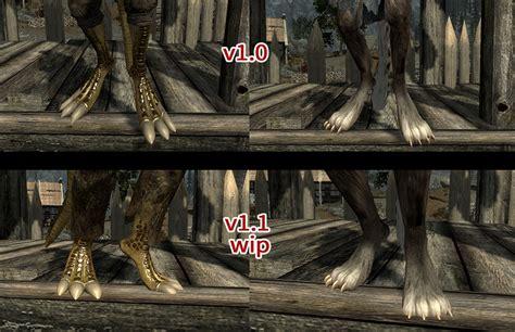 argonian and khajiit digitgrade with sos body texture at true digitigrade beast races wip at skyrim nexus mods