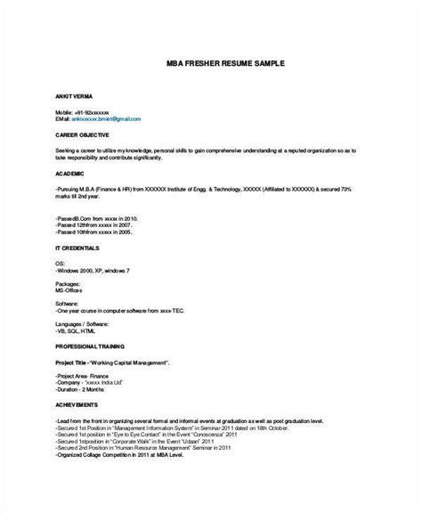 Mba Fresher Resume Sample by 51 Resume Format Samples