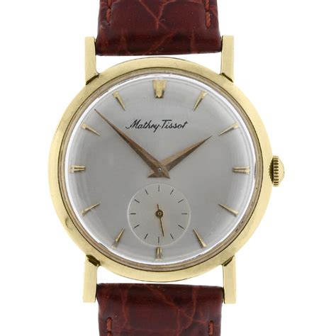 mathey tissot 14k yellow gold on leather vintage