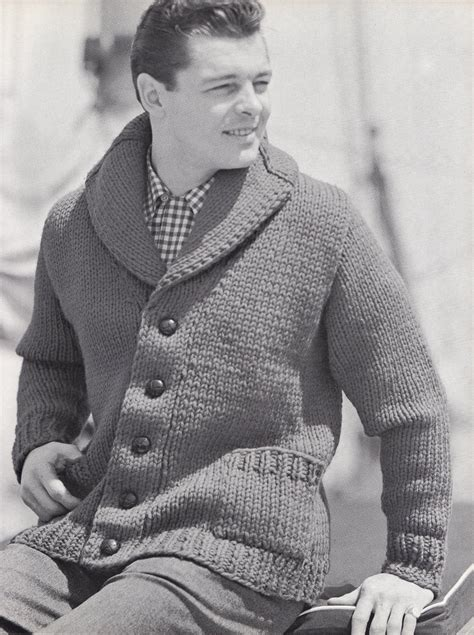 mens shawl collar sweater knitting pattern knit mens cardigan with shawl collar vintage knitting pdf