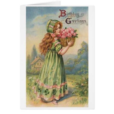 printable victorian birthday cards victorian irish girl birthday card zazzle