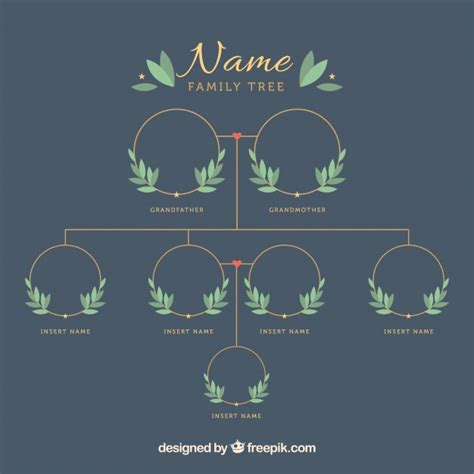 family tree template with decorative leaves vector free