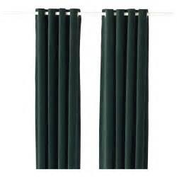 Ikea Velvet Curtains Sanela Curtains 1 Pair Green 140x250 Cm Ikea