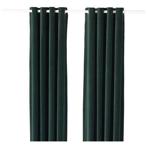 Ikea Velvet Curtains Sanela Curtains 1 Pair Green 140x250 Cm Ikea