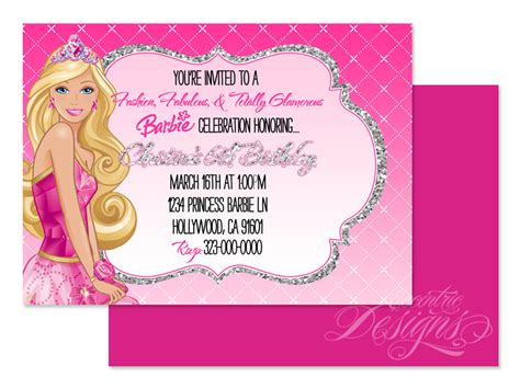 printable birthday invitations barbie eccentric designs by latisha horton barbie birthday