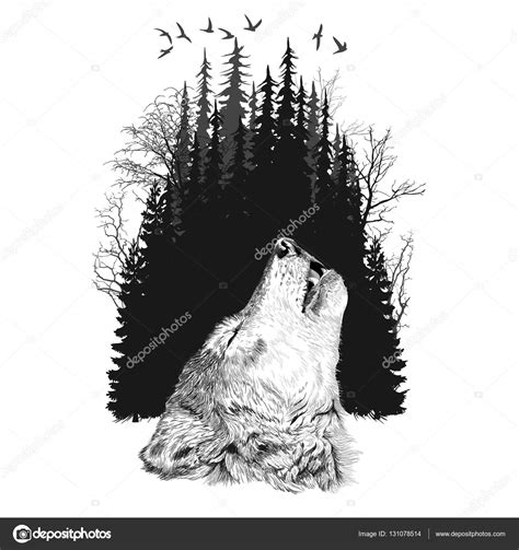 wolf silhouette on forest background stock vector