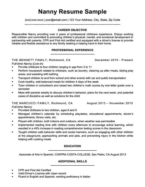 Resume Nanny by Nanny Resume Sle Writing Tips Resume Companion