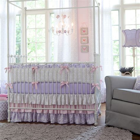 Lilac And Silver Gray Damask Crib Bedding Baby Girl Crib