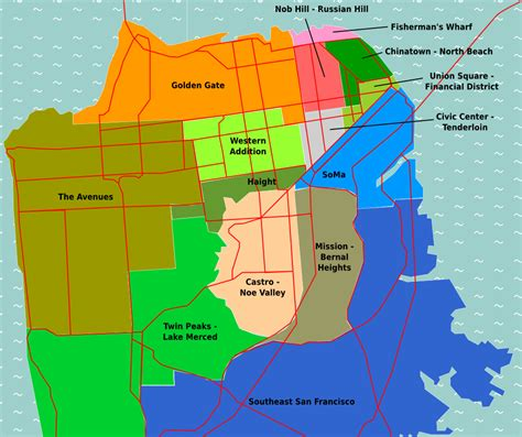 san francisco map districts san francisco districts mapsof net