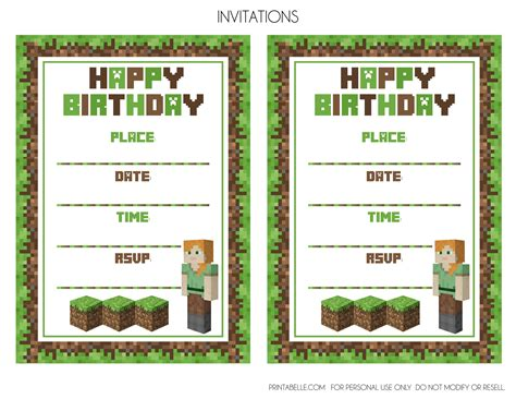 printable birthday cards minecraft minecraft birthday invitations minecraft birthday