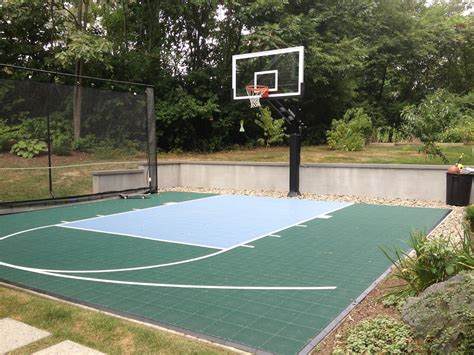 backyard basketball court a little innovation helps keep the ball close