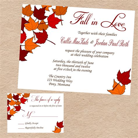 fall printable wedding invitation templates fall wedding invitations and inspiration response cards