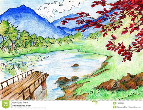 drawing pencil coloured scenery pic drawing of sketch