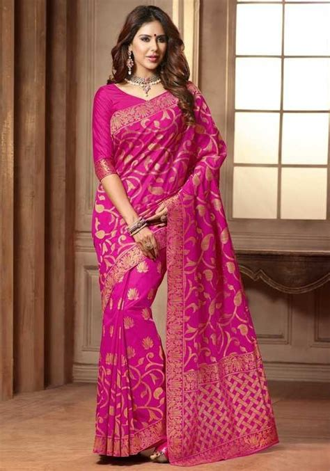 rani pink colour silk sarees rani pink color raw silk saree