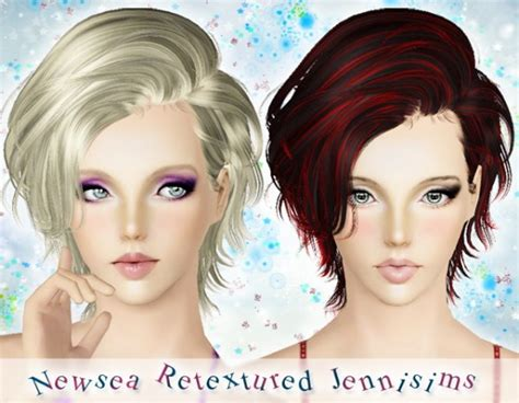 short female hair sims 3 wavy short hairstyle newsea hair roughsketch retextured