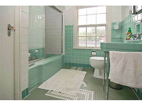 vintage retro bathroom mint green aqua tile and