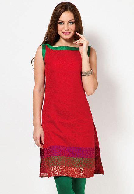 kurti sleeves pattern sleeve less self pattern red kurti indian kurtis online