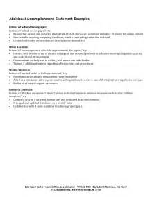 Resume Accomplishment Statements Exles by Exle Accomplishment Statements