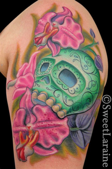 cute sugar skull tattoo designs the sweetest orchid sugar skull by sweet laraine