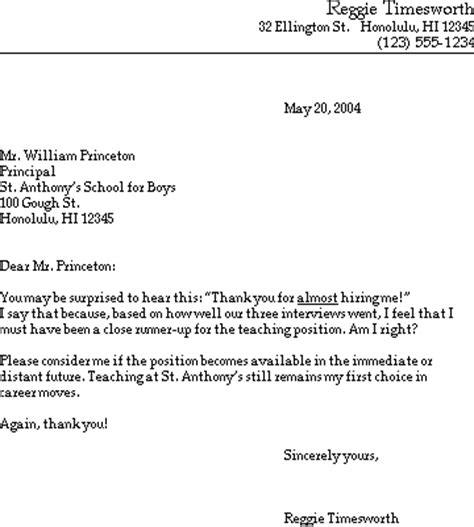 Rejection Letter To Recruiter Sle Thank You Letter For A Rejection Susan Ireland Resumes
