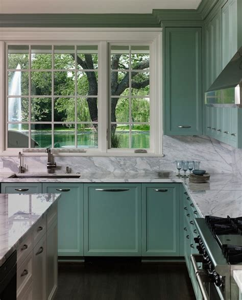 Seafoam Green Kitchen by The Zhush Classically Inspired