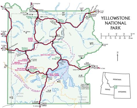 map of yellowstone park yellowstone national park map images