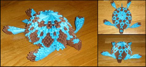 3d Origami Turtle - 3d origami turtle by justtree on deviantart