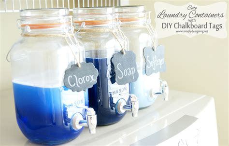 Organizing Pantry Shelves mason jar laundry soap containers with diy chalkboard tags