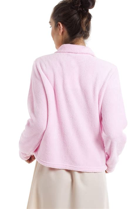 womens bed jacket womens luxury pink button up fleece bed jacket