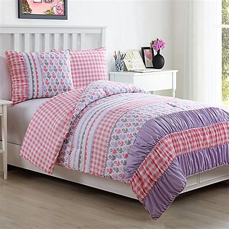 Lily Reversible Comforter Set In Pink Bed Bath Beyond