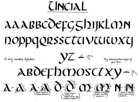 unical lettere calligraphy alphabet uncial alphabet fonts lettering