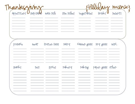 thanksgiving menu planner template creative designs free printables