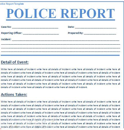 police report template free printable documents