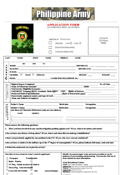 philippine army application form printable pdf download