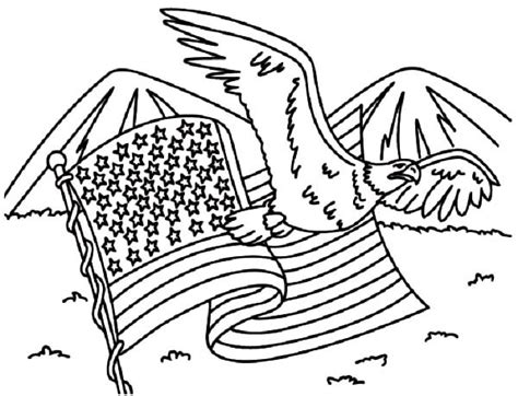 american flag and eagle fourth of july coloring page for american flag and eagle for 4th july independence day