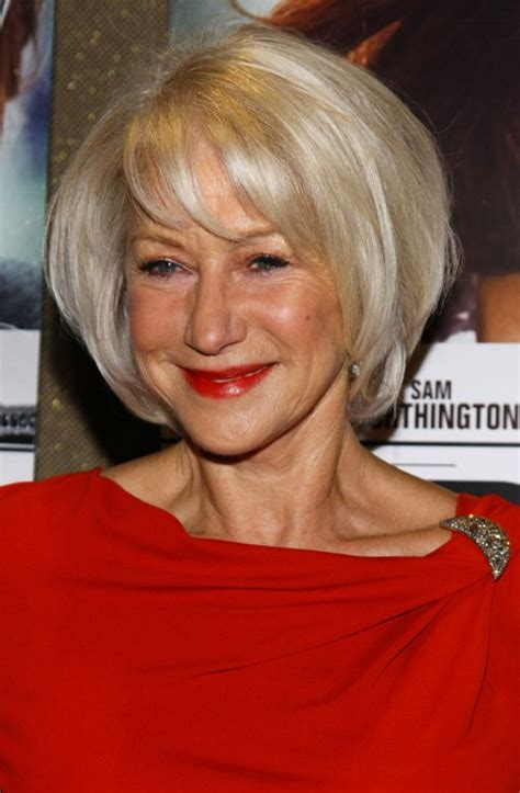 bob haircuts over 60 shiny blond layered bob for women over 60 helen mirren
