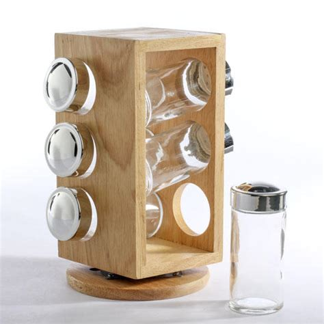 Wooden Spice Holder Revolving Wood Spice Rack Decorative Containers