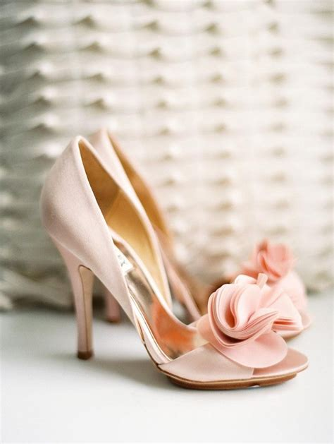 wedding flower shoes badgley mischka randall in light pink