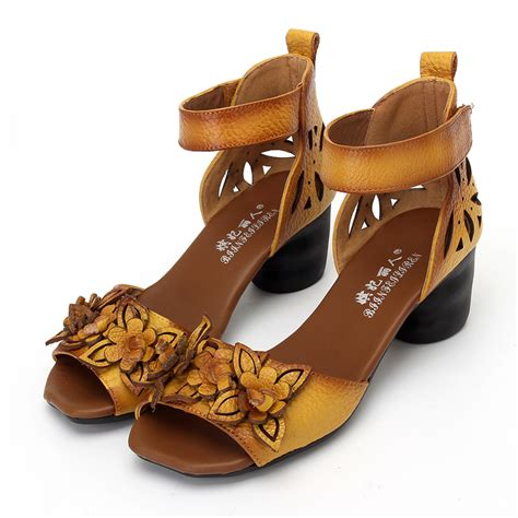 personalized high heels high heels sandals closed toe flower ethnic style
