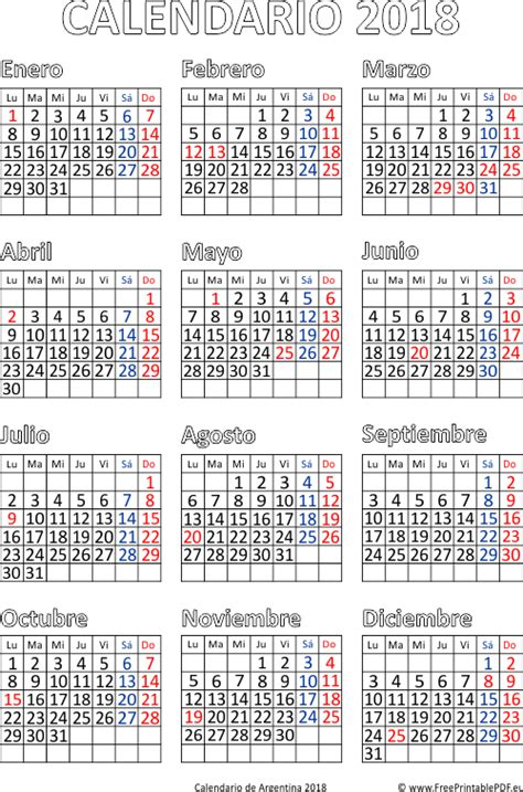 Calendario Gregoriano 2018 Calendario De Argentina 2018 Imprimir El Pdf Gratis