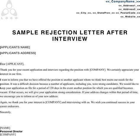 Cover Letter For Rejection Sle Rejection Letter After Crna Cover Letter