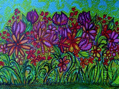 flower garden drawings psychedelic flower garden drawing by gerri rowan