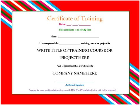 professional training certificate template from word