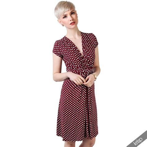 Wst 13086 Dress With Neck Size S womens casual v neck polka dot summer dress spotted
