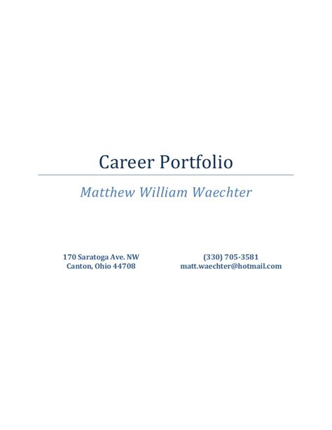 Career Portfolio Psychology Portfolio Templates