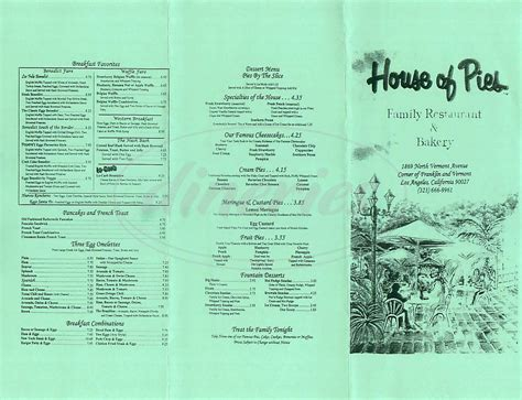 house of pies menu house of pies restaurant bakery menu los angeles dineries