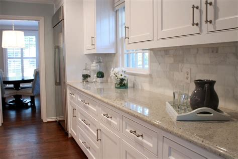 Eat In Island Kitchen by Kashmir White Granite Kitchen Transitional With Glass